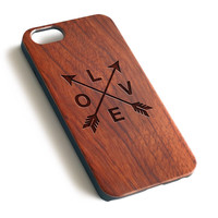 Arrow and Love Natural wood precise laser engraved iPhone case WA126