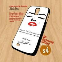 Marilyn Monroe quotes face - For Samsung Galaxy S4 i9500 Case Cover