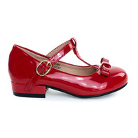 Kate5K Red Girl's Mary Jane T-Strap Pump, Chunky Block Heel & Bow, Children Kid Shoe