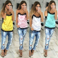 Candy Colored Black Lace Trim Cami Tank Top