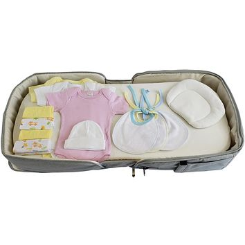 Girls 12 pc Baby Clothing Starter Set with Portable Changing Table/Diaper Bag