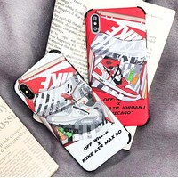 NIKE & Off White New fashion letter arrow print couple protective cover phone case