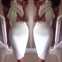 Sexy white backless cross bandage bodycon dress party cocktail buxom outfit