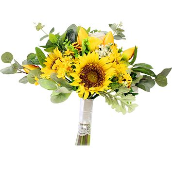 Large Summer Bouquet - Yellow Sunflower and Tulip Hand-Tied Bouquet