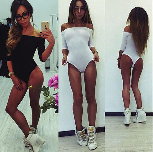 Image of Strapless Solid Color Tight Long Sleeve Romper Jumpsuit