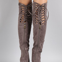 Suede Back Lace Up Pointy Toe Stiletto Over-The-Knee Boots