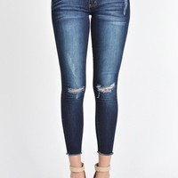 Distressed Skinny Cropped Jean