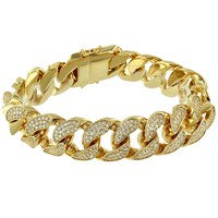 Men's Fully out Lab Diamonds Designer Miami Cuban Bracelet 14k Gold Finish
