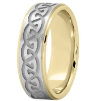 Wedding Band - Celtic Mens Wedding Ring in Two Tone Gold