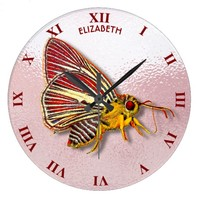 Psychedelic Colorful Fantasy Butterfly Drawing Large Clock