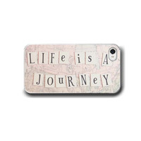Life is a Journey, iPhone 5 4 4s Case, iPhone 4, Pastel Pink, Typography, Travel, Cell Phone Case, Accessory for iPhone