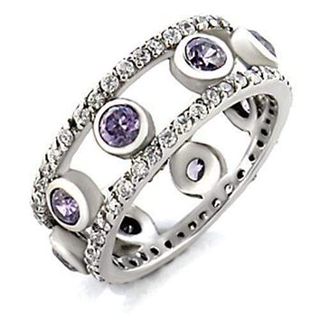 Women's Band Rings 9W078 Rhodium Brass Ring with AAA Grade CZ