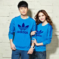 """""""Adidas"""" Unisex Fashion Casual Stripe Clover Letter Print Long Sleeve Couple Cotton Sweater T-shirt Tops"""