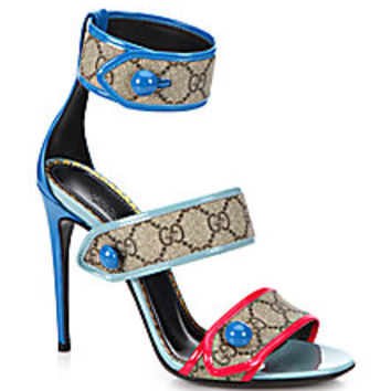 Gucci - Harleth Logo Canvas & Patent Leather Strappy Sandals - Saks Fifth Avenue Mobile