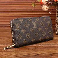 LV Women Zipper Leather Wallet Purse