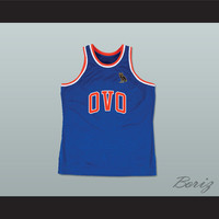 Drake 6 OVO Blue Basketball Jersey MSG NYC with Owl Patch
