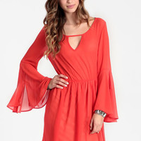 Modern Renaissance Flared Sleeve Dress in Tomato - $39.00 : ThreadSence, Women's Indie & Bohemian Clothing, Dresses, & Accessories