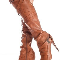 COGNAC FAUX LEATHER MULTI BUCKLE SIDE ZIPPER POINTED TOE HEEL OVER THE KNEE BOOT