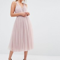 Little Mistress Embellished Midi Dress with Tulle Skirt at asos.com