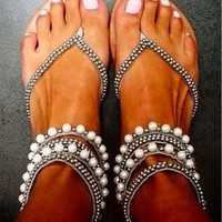 Beaded Zipper Fashion Women Sandals Flats Shoes