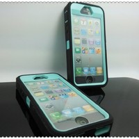 Generic MC0005 Cell Phone Case for iPhone 5/5s - Non-Retail Packaging - Black & Light Blue