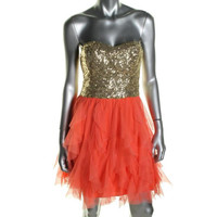 B. Darlin Womens Juniors Sequined Strapless Semi-Formal Dress