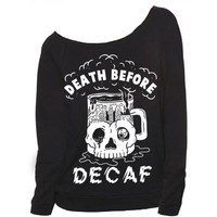 Death Before Decaf Raglan - PYKNIC   YOUNG & HUNGRY