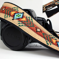 dSLR Camera Strap with pocket Southwestern by CoopersCollars