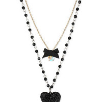 Betsey Johnson Gold-Tone Black Glitter Heart Two-Row Necklace