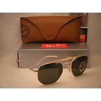 Ray Ban 3648 Marshall Gold w Green Crystal (G-15) Lens (RB3648 001 54 mm size)