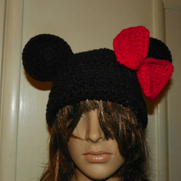 Minnie Mouse Hat  with a XLarge Red Bow   Mickey Mouse Beanie Hat  for a  Adult  Hand Crochet  You Could Custom Order any Size