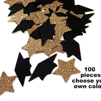 Graduation party confetti, grad caps, gold stars, Ready in 3-5 business days, 100 pieces, custom colors, 2016 graduates