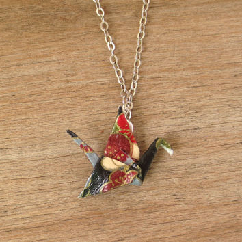 Asian Paper Crane Necklace, Asian Necklace, Asian Jewelry, Japanese Necklace, Japanese Jewelry, Washi Necklace, Washi Jewelry, Origami