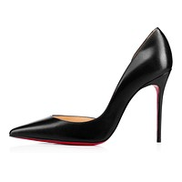 Christian Louboutin Cl Iriza Black Leather 100mm Stiletto Heel 13w -