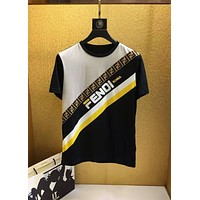 Fendi 2019 new F letter logo color strip men's round neck pullover half sleeve t-shirt black