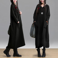 Women maxi dress linen dress large size dress Casual dress/Loose Fitting dress/Long Sleeve dress autumn clothing plus size dress