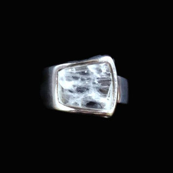 Modern Sterling Silver And Crystal Quartz Ring Wide Band Size 7 US