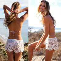 Fashion Summer Sexy Slim Bodycon Beach Lace Hot Short = 4769184836