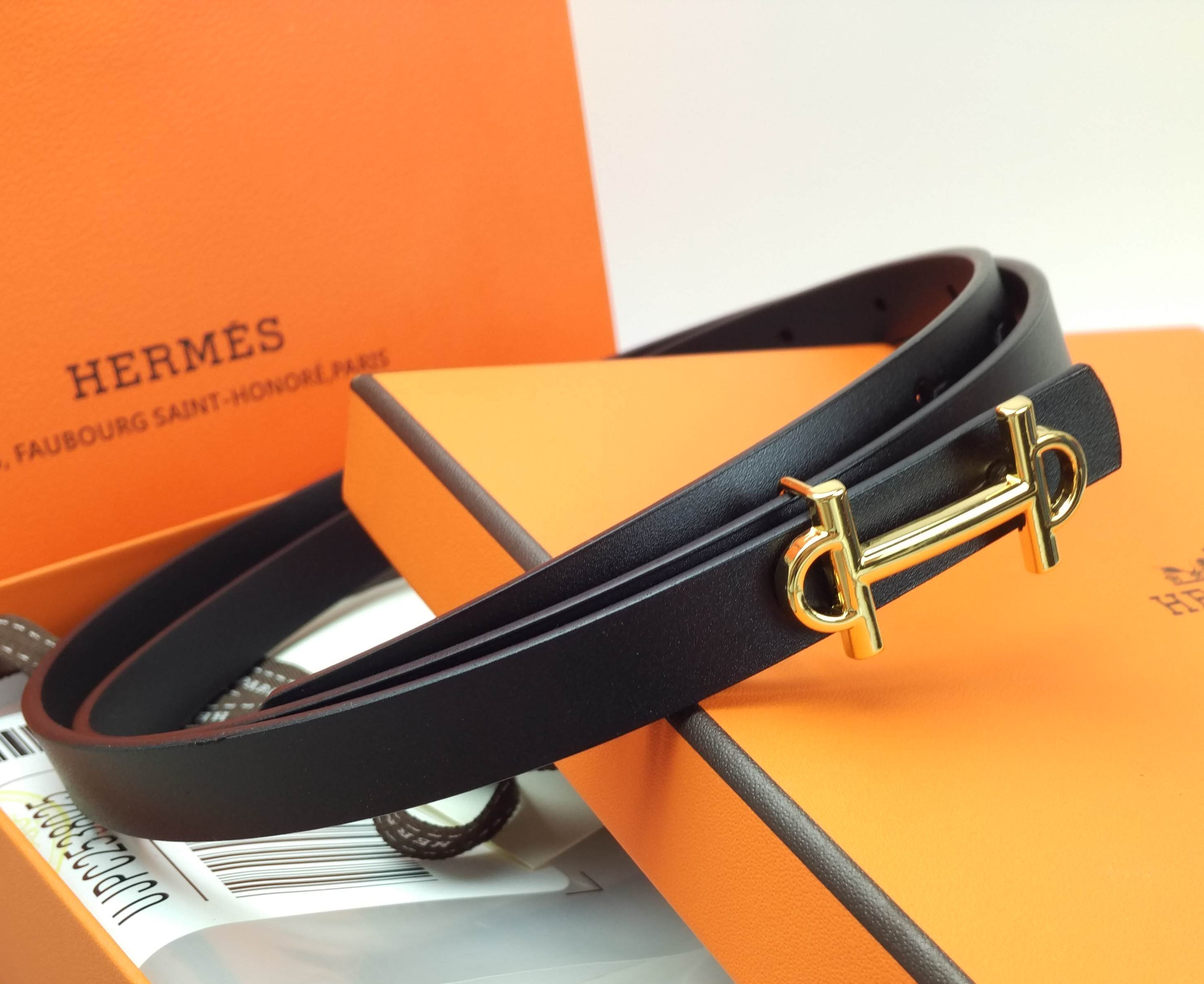 Image of Hermes fashion retro H letter buckle ladies small belt