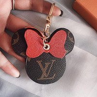 LV Louis Vuitton Fashion Hot Sale Women's Printed Letters Contrast Cute Keychain