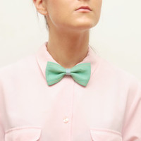 Mint leather bow tie/ headband - Ready to Ship