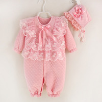Newborn Baby Girl Clothes Air Cotton Winter Thicken Coveralls Rompers Princess Lace Infant Girls Clothing Set Jumpsuit + Hats