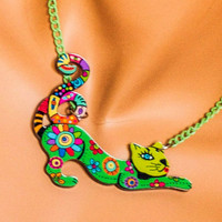 Cat necklace, animal necklace, cat pendant, green, gift for teen girls, little girl necklace, funky, funny, cute, kawaii, lightweight,flower