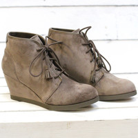 Madden Girl: Dallyy Wedge Suede Bootie {Dark Taupe}
