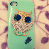 Mint green owl  iphone 4 case cover iphone 4s case iphone 5 case iphone 5 cover  samsung Galaxy S3 case