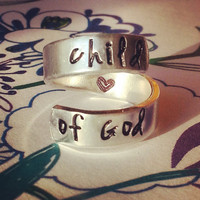 child of God spiralf ring  made from aluminum 1100, hand stamped
