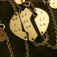 never a dull moment  ....Best Bitches Hand Stamped SPLIT Brass ,copper ,silver Heart Oxidized Bracelet