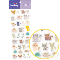 Cartoon Illustrated Kitty Cat Animal Shaped Jelly Stickers for Decorating | Cute Animal Themed Scrapbook Supplies