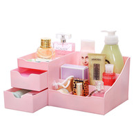 Pink Makeup Cosmetic Accessory Jewelry Organizer with Drawers Clutter Free