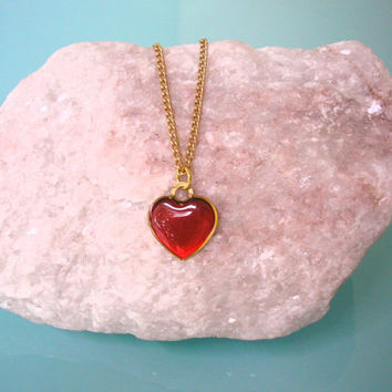 Valentines Day Heart Pendant Gift For Her Minimalist Jewelry Delicate Necklace Romantic Gift Valentine Heart Wife Gift Red Heart Jewelry